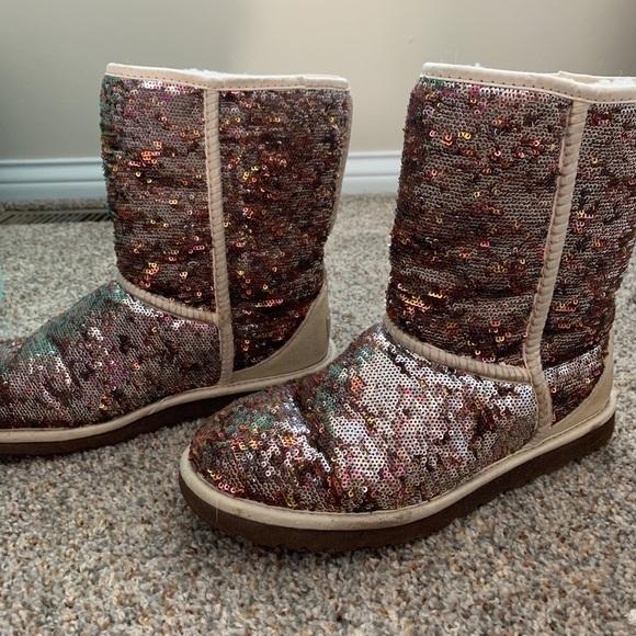 d5323c744ca Sequin Sparkle Ugg Classic Short Boots Metallic 9